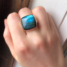 Load image into Gallery viewer, Sterling & 14K Gold Square Labradorite Ring