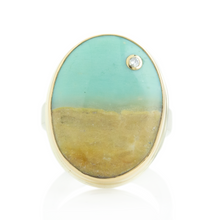 Load image into Gallery viewer, Sterling & 14K Gold Oval Blue Indonesian Fossilized Opalized Wood & Diamond Ring