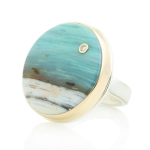 Sterling & 14K Gold Round Blue Indonesian Fossilized Opalized Wood & Diamond Ring