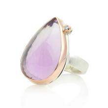 Load image into Gallery viewer, Sterling & 14K Rose Gold Amethyst & Diamond Ring