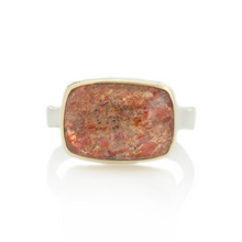 Load image into Gallery viewer, Sterling & 14K Gold Rectangular African Sunstone Ring