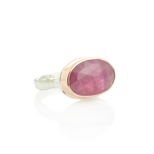 Load image into Gallery viewer, Sterling & 14K Rose Gold Pink Sapphire Ring