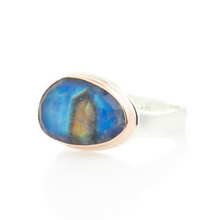Load image into Gallery viewer, Sterling & 14K Rose Gold Small Blue Rainbow Moonstone Ring