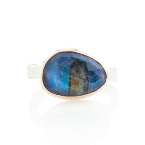 Sterling & 14K Rose Gold Small Blue Rainbow Moonstone Ring