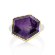 Load image into Gallery viewer, Sterling & 14K Gold Asymmetrical Amethyst Ring