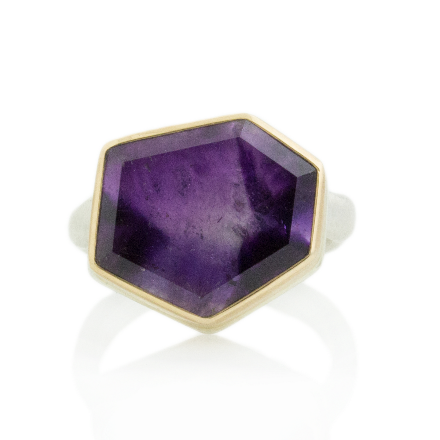 Sterling & 14K Gold Asymmetrical Amethyst Ring