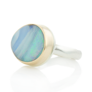 Sterling & 14K Gold Asymmetrical Boulder Opal Ring