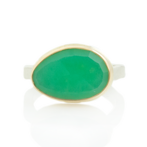 Sterling & 14K Gold Asymmetrical Chrysoprase Ring