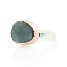 Load image into Gallery viewer, Sterling & 14K Rose Gold Moss Aquamarine Ring