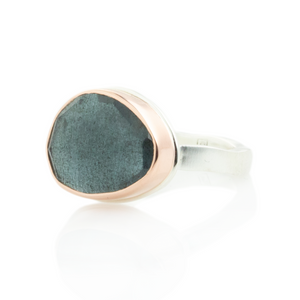 Sterling & 14K Rose Gold Moss Aquamarine Ring