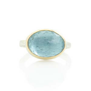 Sterling & 14K Gold Oval Aquamarine Ring