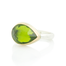 Load image into Gallery viewer, Sterling & 14K Gold Teardrop Peridot Ring