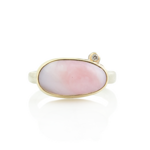 Sterling & 14K Gold Pink Peruvian Opal & Diamond Ring