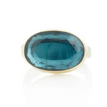 Load image into Gallery viewer, Sterling & 14K Gold Oval Green Kyanite Ring