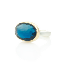Load image into Gallery viewer, Sterling & 14K Gold Oval London Blue Topaz Ring