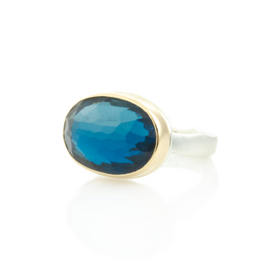 Sterling & 14K Gold Oval London Blue Topaz Ring