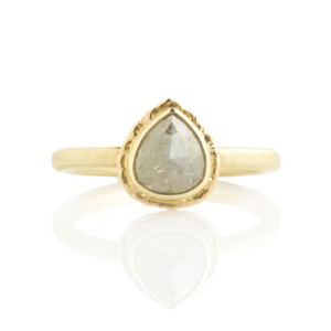 0.95 ct Vertical Teardrop Rustic Diamond Ring