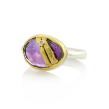 Load image into Gallery viewer, Sterling & 22K Golden Joinery Amethyst Ring