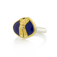 Load image into Gallery viewer, Sterling & 22K Golden Joinery Lapis Ring