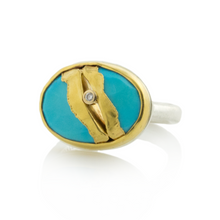Load image into Gallery viewer, Sterling & 22K Golden Joinery Sleeping Beauty Turquoise Ring