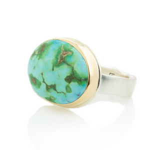Sterling & 14K Gold Sonoran Mountain Turquoise Ring