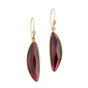 Sterling & 14K Gold Rhodolite Garnet & Diamond Earrings
