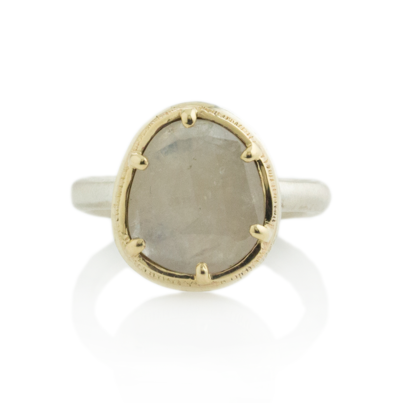 Sterling & 14K Gold Cast Prong Linen Sapphire Ring