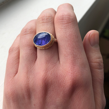 Load image into Gallery viewer, Sterling & 14K Gold Ruffled Edge Tanzanite Ring