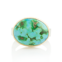 Load image into Gallery viewer, Sterling & 14K Gold Sonoran Mountain Turquoise Ring