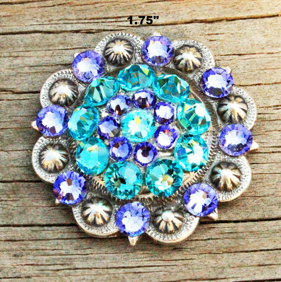 Turquoise & Purple Antique Silver Conchos & Buckles