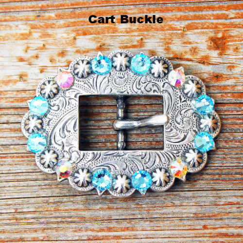 AB & Aqua  Antique Silver Conchos & Buckles