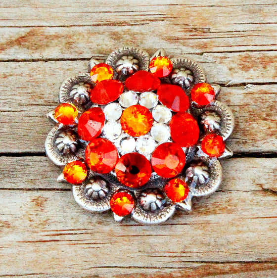 Fire Opal & Clear Antique Silver Conchos & Buckles