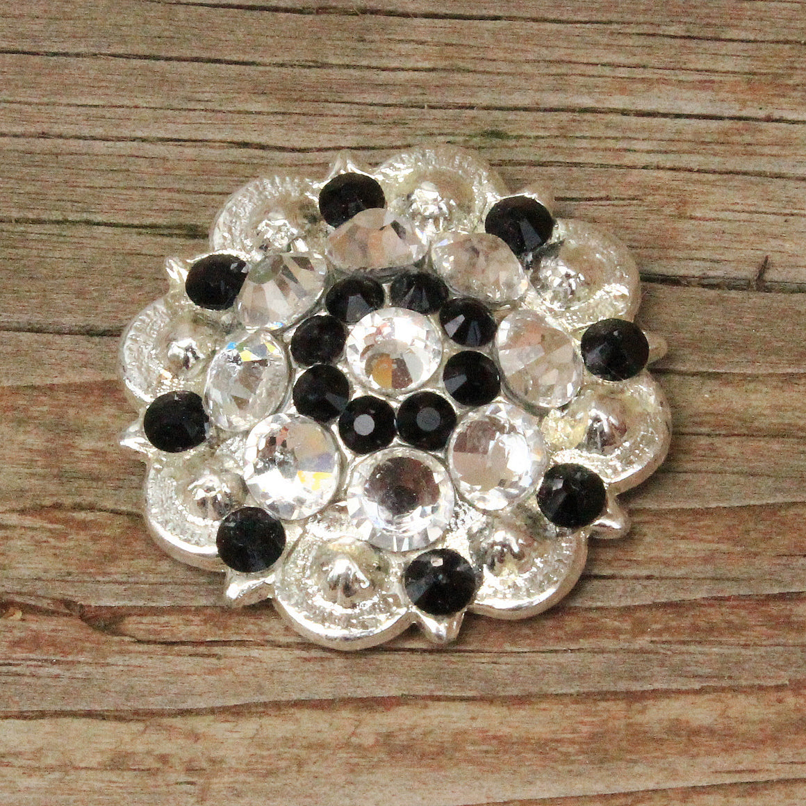 Black & Clear Bright Siver Conchos & Buckles