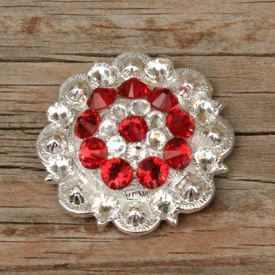 Red & Clear Bright Siver Conchos & Buckles