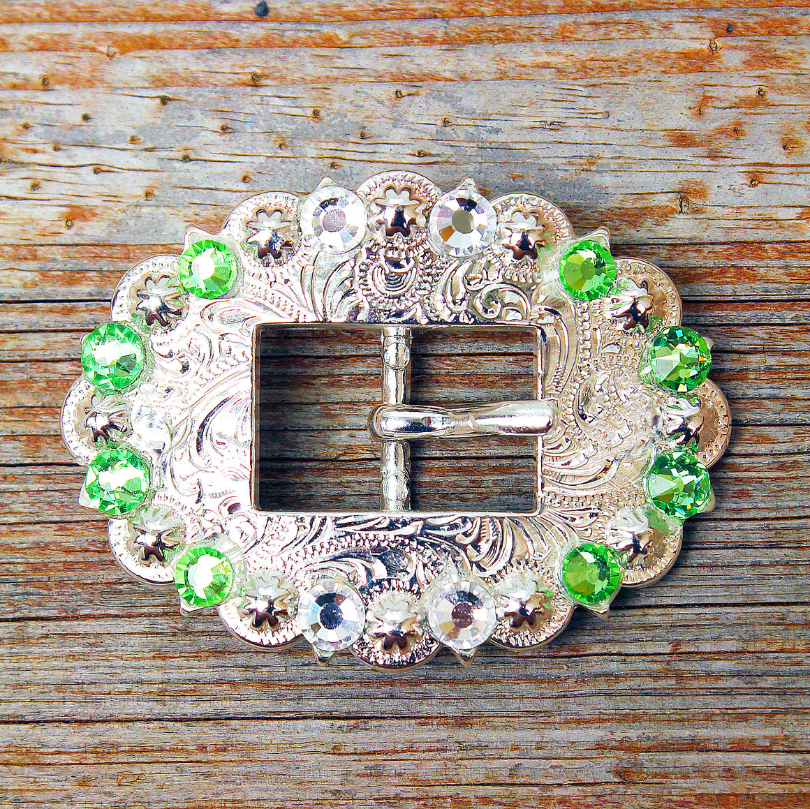 Lime & Clear Bright Siver Conchos & Buckles