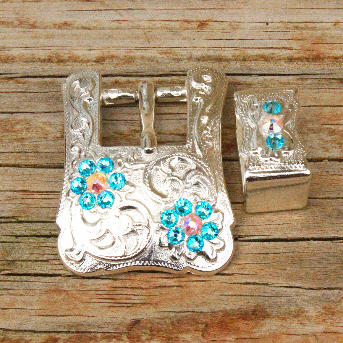 AB & Turquoise Bright Siver Conchos & Buckles