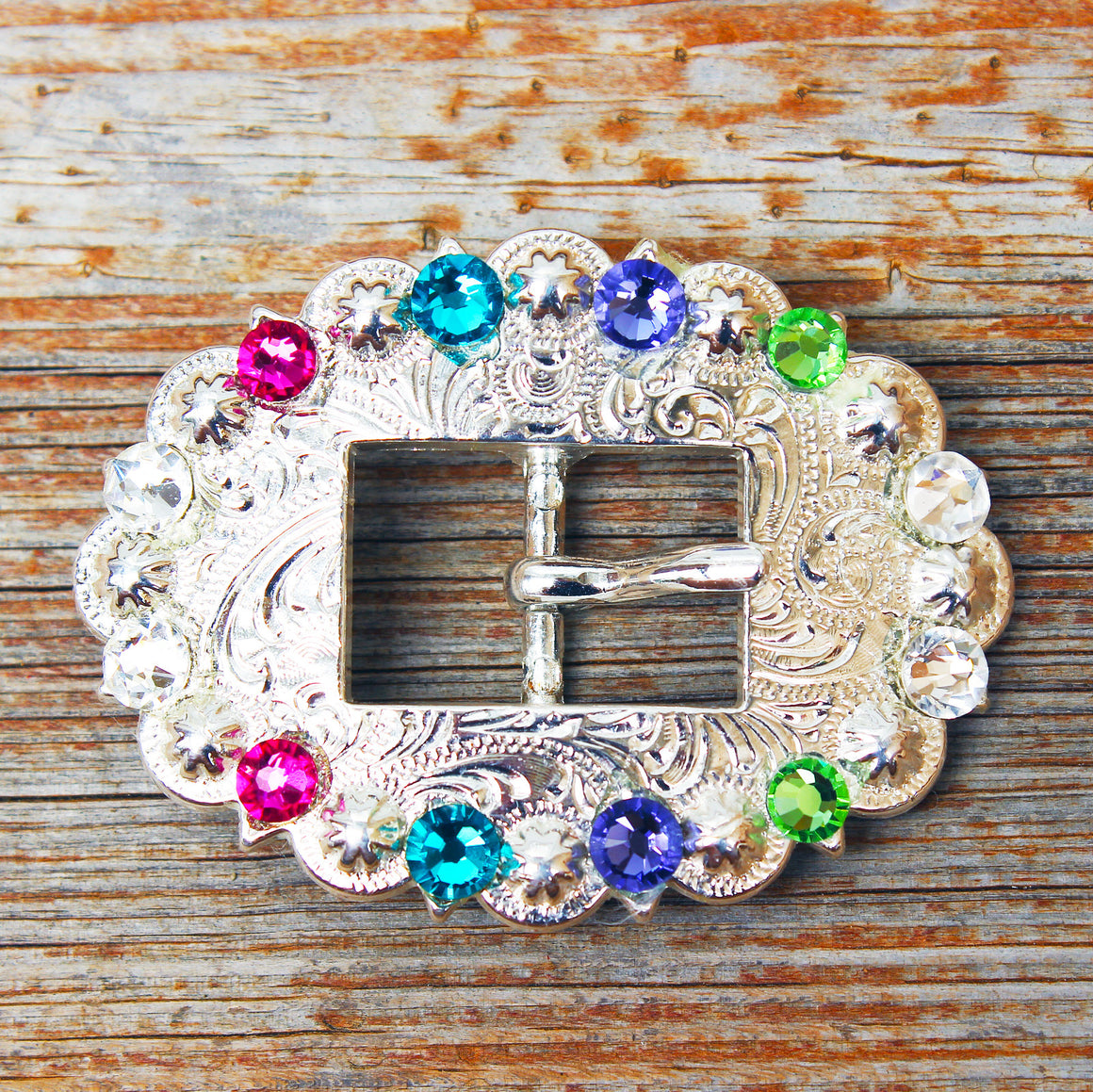 Clear with Pink, Purple, Lime & Teal Bright Silver Conchos & Buckles
