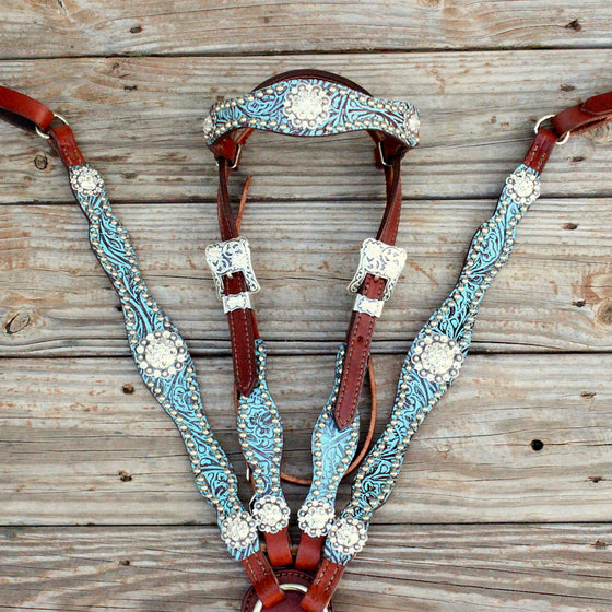 Western Teal/Chestnut Leather Browband Tack Set w/Clear Crystal Rhinestone Conchos