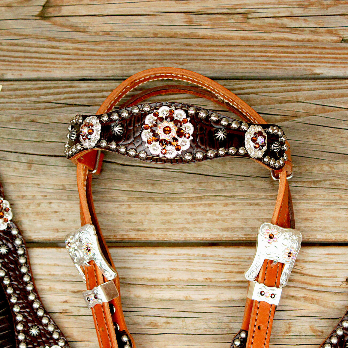 Dk Brown Gator/Tan Leather Fringe Browband Tack Set w/AB-Smk Topaz Crystal Rhinestone Conchos