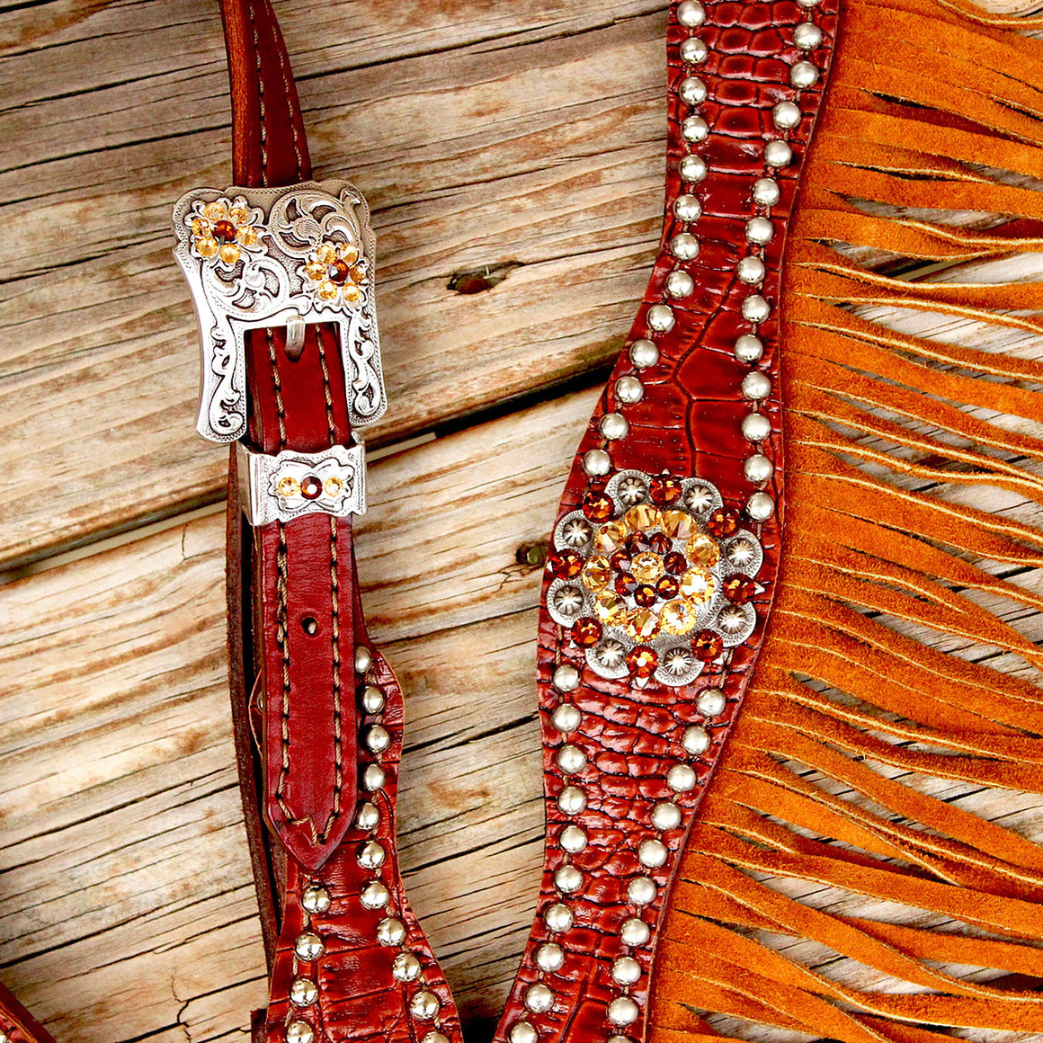 Brown Gator/Chestnut Leather Fringe Browband Tack Set w/Smoke Topaz-Lt. Topaz Crystal Rhinestone Conchos