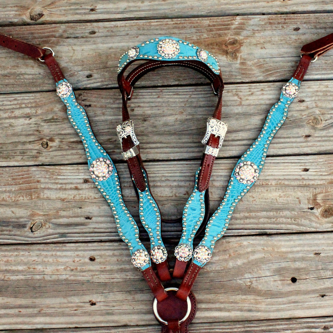 Teal Gator/Chestnut Leather Browband Tack Set w/AB Crystal Rhinestone Conchos