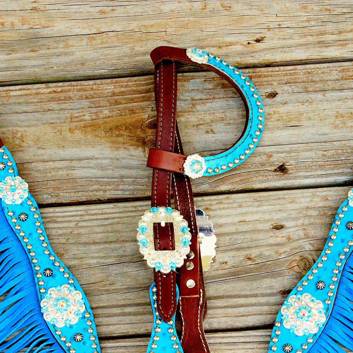Turquoise Ostrich/Chestnut Leather One Ear Fringe Tack Set w/AB-Turquoise Crystal Rhinestone Conchos