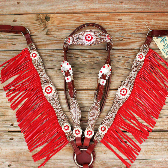 Floral Bone/Chestnut Leather Fringe Browband Tack Set w/Red-Clear Crystal Rhinestone Conchos