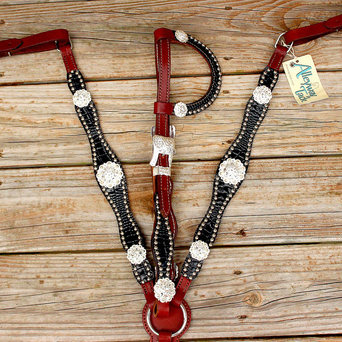 Black Patent Gator/Chestnut Leather One EarTack Set w/Clear Crystal Rhinestone Conchos
