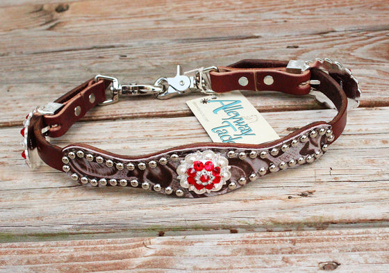 Floral Bone Wither Strap w/Chestnut Leather /Red & Clear Crystal Rhinestone Concho