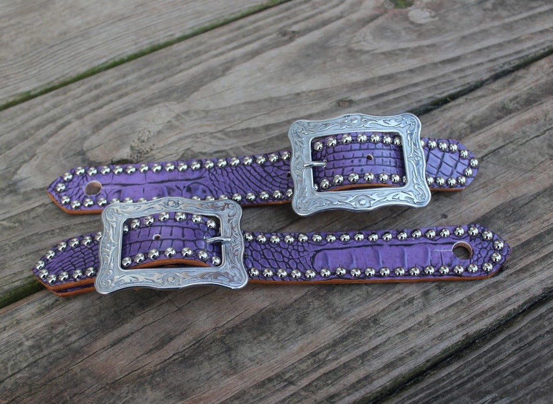 "Antique Purple Gator Belt Style Spur Strap w/1.25"" Western Style Buckle"