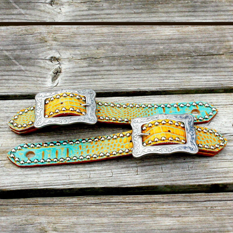 "Teal & Tan Gator Belt Style Spur Strap w/1.25"" Western Style Buckle"