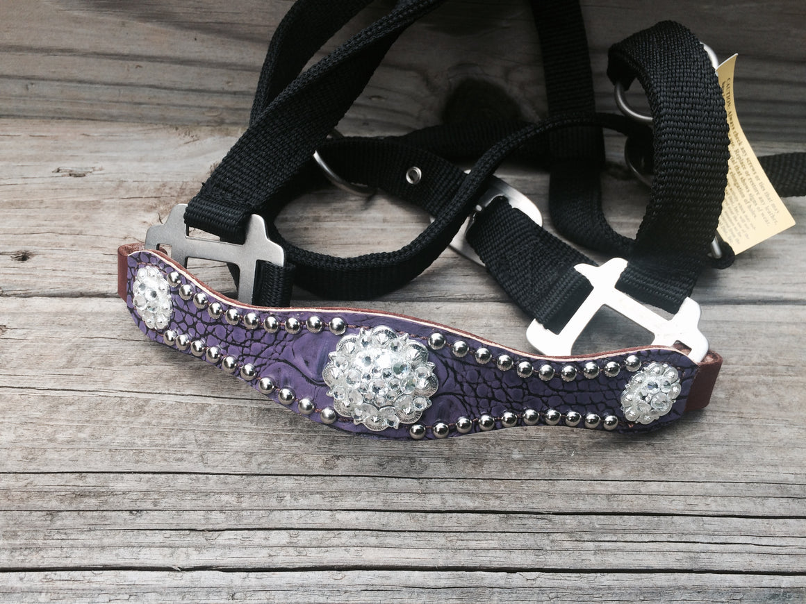 Antique Purple Gator/Chestnut Leather Bronco Halter w/Clear Crystal Rhinestone Conchos