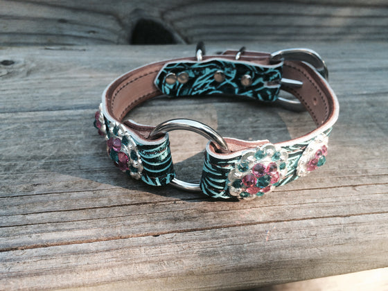 Teal Filigree 1 Inch Center Ring Dog Collar with Pink & Teal Rhinestone Conchos