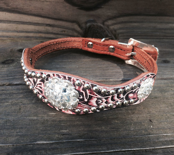 Pink Filigree Scallop Dog Collar w/ Clear Rhinostone Bright Silver Conchos & Buckle